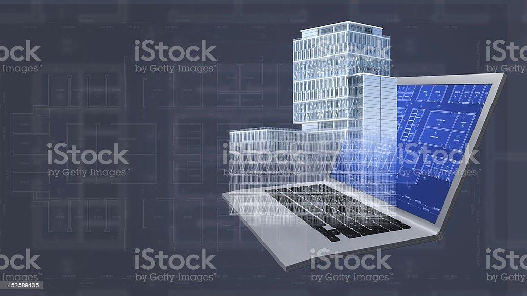 Projet blueprint Architecture et bâtiments arrière-plan de modèle 3D et ordinateur - Photo