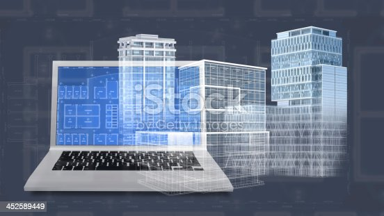 507211101 istock photo Architecture project blueprint background with 3D buildings model and computer 452589449