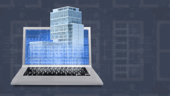 istock Architecture project blueprint background with 3D buildings model and computer 452589475