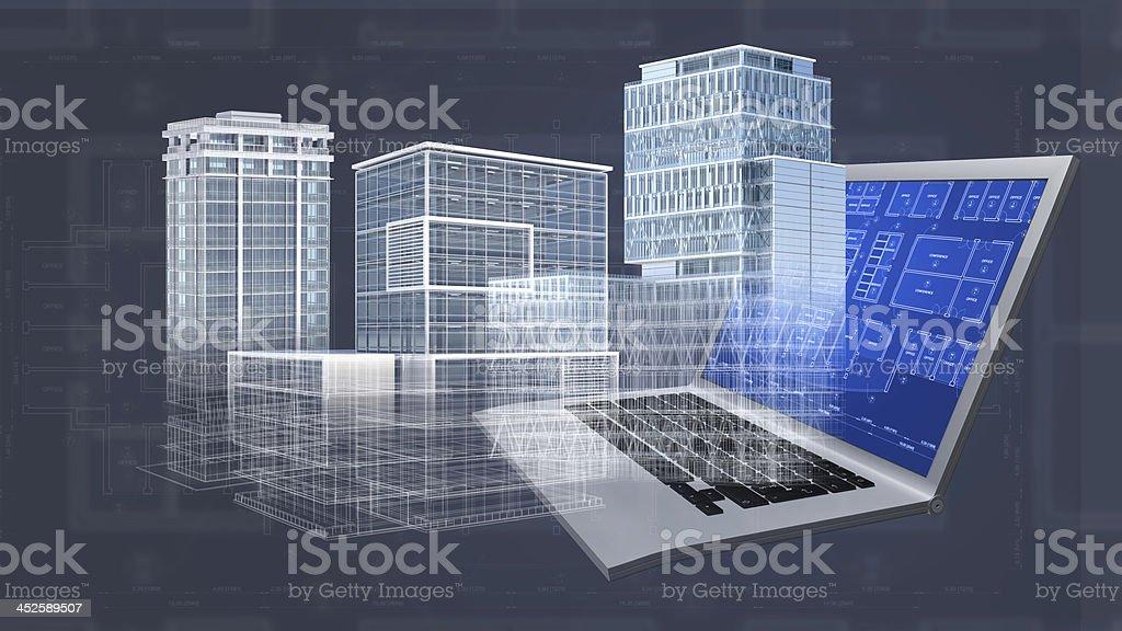 Bosquejo de la arquitectura proyecto fondo 3d de edificios for Arquitectura ordenador
