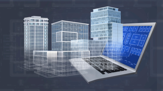 istock Architecture project blueprint background with 3D buildings model and computer 452589507