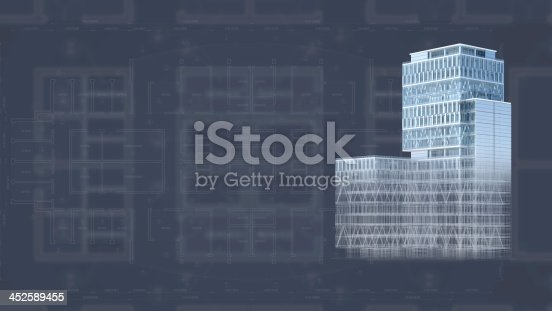 507211101 istock photo Architecture project blueprint background with 3D buildings model 452589455
