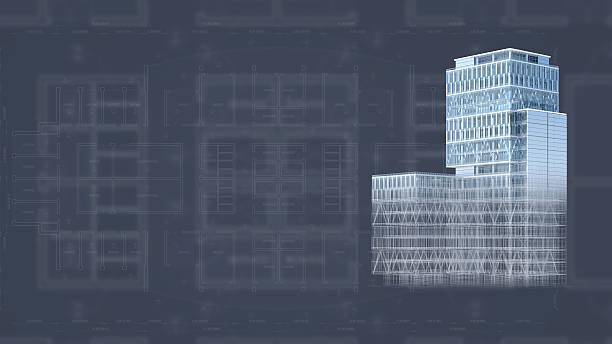 Architecture de projet blueprint fond avec modèle 3D bâtiments - Photo