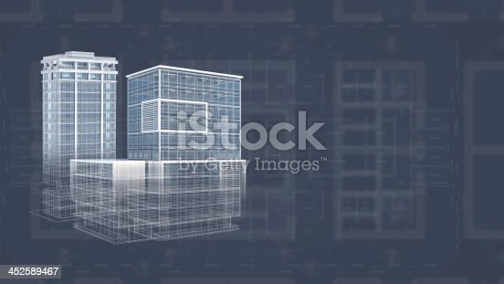 istock Architecture project blueprint background with 3D buildings model 452589467