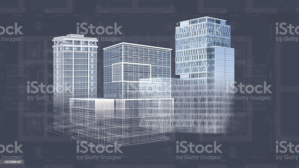Architecture project blueprint background with 3d buildings model architecture project blueprint background with 3d buildings model royalty free stock photo malvernweather