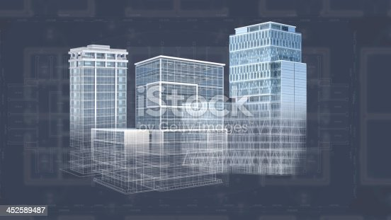 507211101 istock photo Architecture project blueprint background with 3D buildings model 452589487