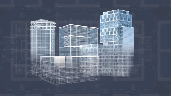 istock Architecture project blueprint background with 3D buildings model 452589487