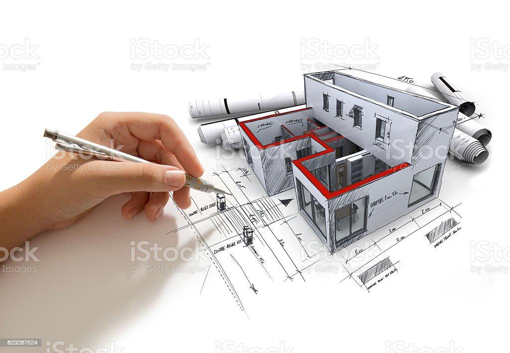 Architecture project in progress stock photo