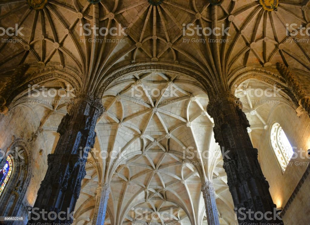 Architecture: ribbed vault, Jeronimos monastery ceiling, Lisbon, Portugal stock photo