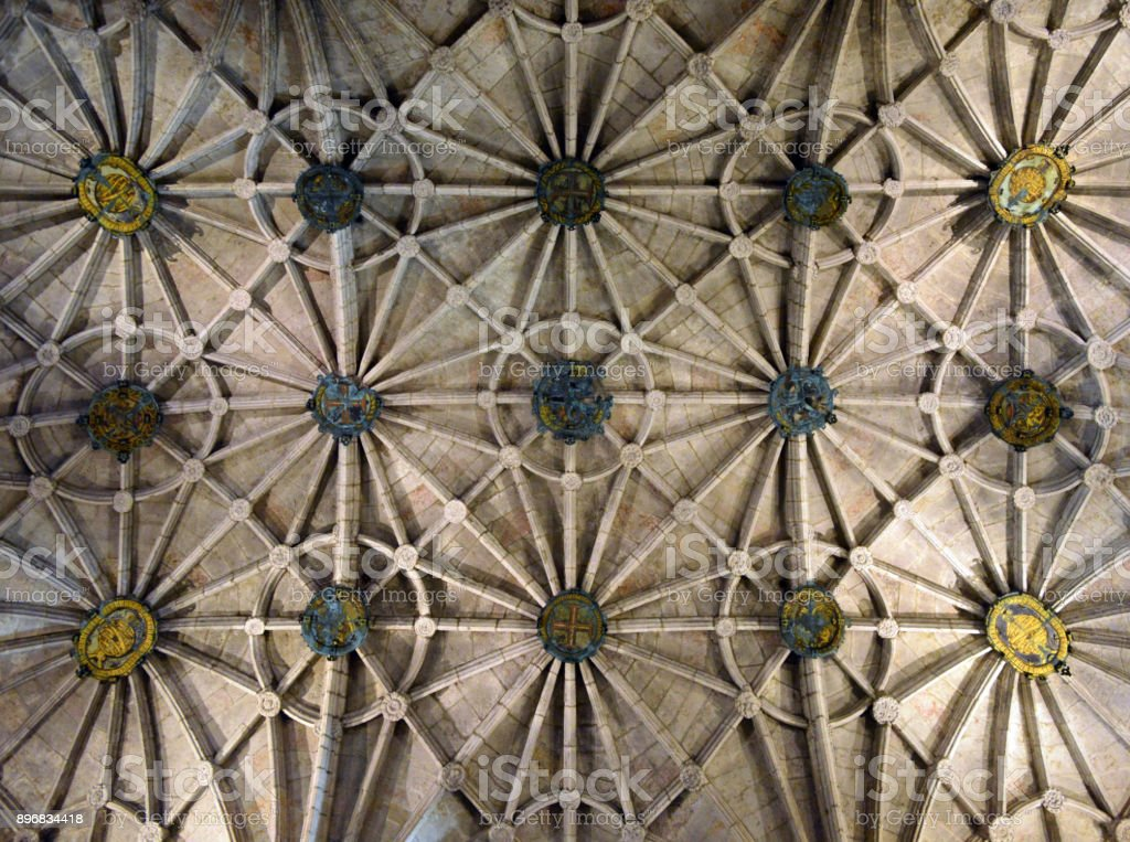 Architecture: ribbed vault, Jeronimos monastery, Lisbon, Portugal stock photo