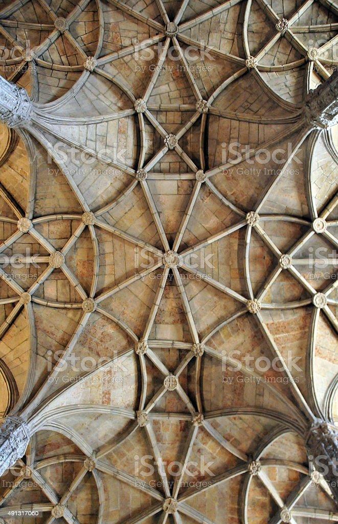 Architecture: ribbed vaut, Jeronimos monastery, Lisbon stock photo