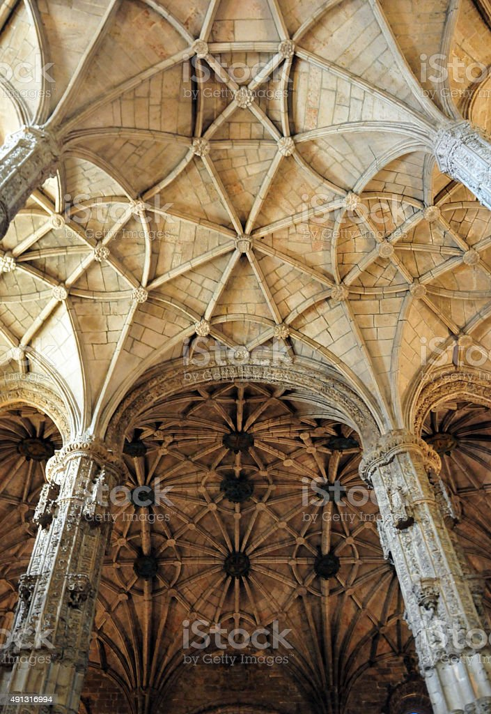 Architecture: ribbed vaut, Jeronimos monastery, Lisbon, Portugal stock photo