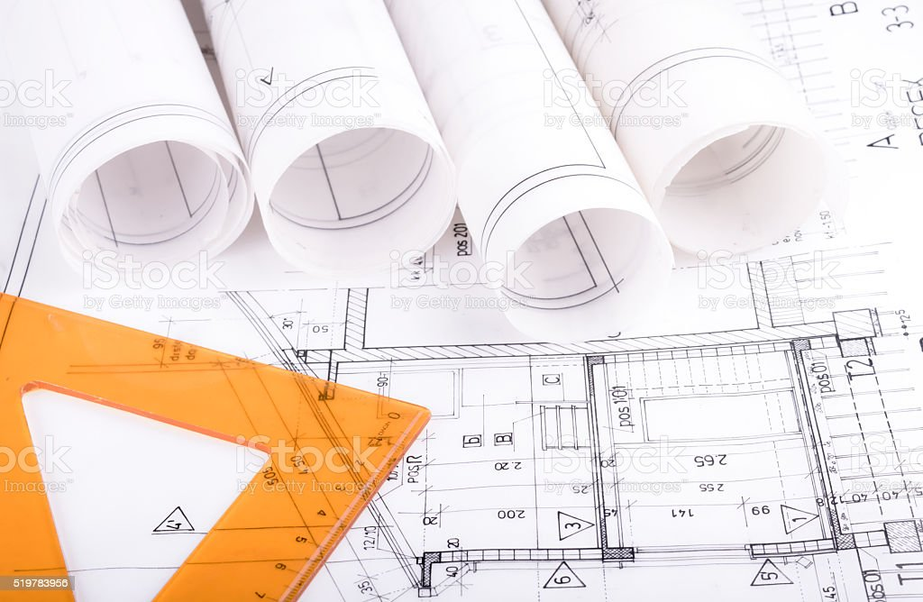 Architecture rolls architectural plans project architect blueprints stock photo