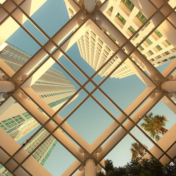 Architektur-Wolkenkratzer Innenstadt Hintergrund Textur Muster – Foto