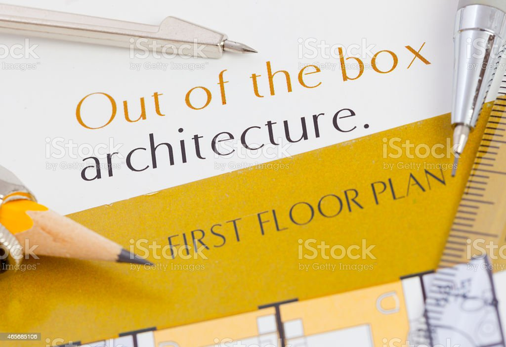 Architecture text and drawing tools stock photo
