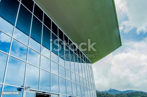 533437662 istock photo Architecture the big blue window modern 868691848
