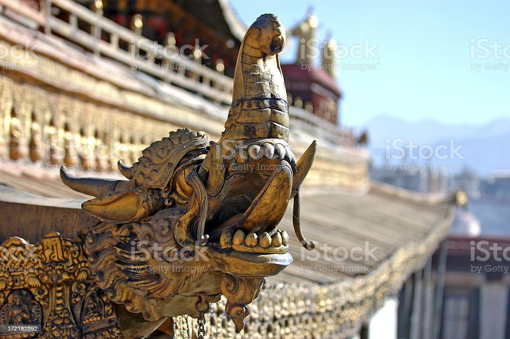 Architecture : Tibet Dragon Carving at Jokhang Temple royalty-free stock photo
