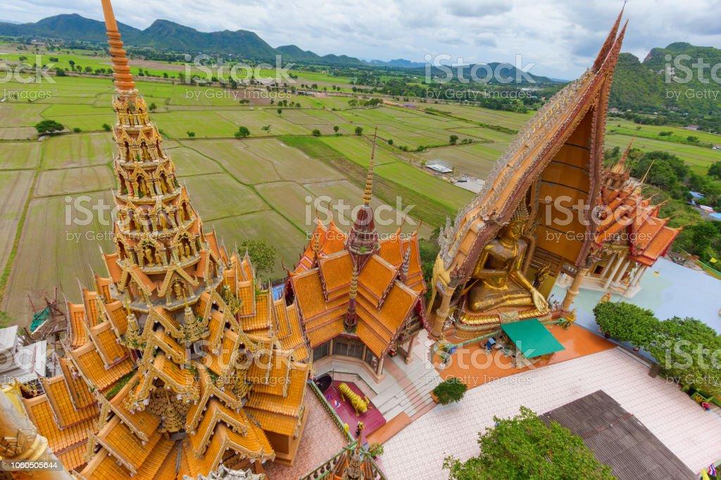 architecture top view of wat thai call wat tham sua stock photo