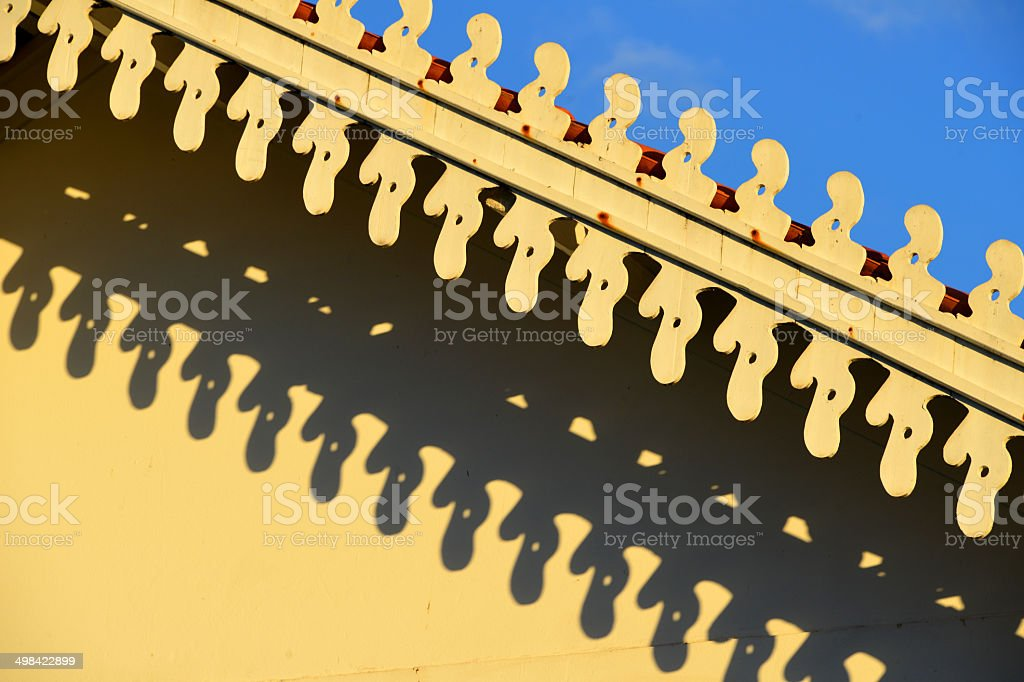Architecture: tropical eaves - fretwork royalty-free stock photo