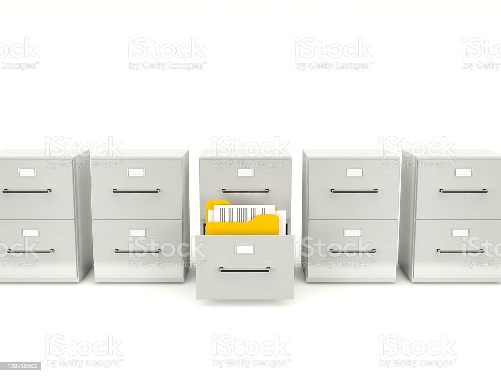 Archive cabinet with folders royalty-free stock photo