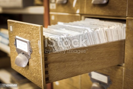 Antique wooden storage boxes in a Archive small shallow depth of field