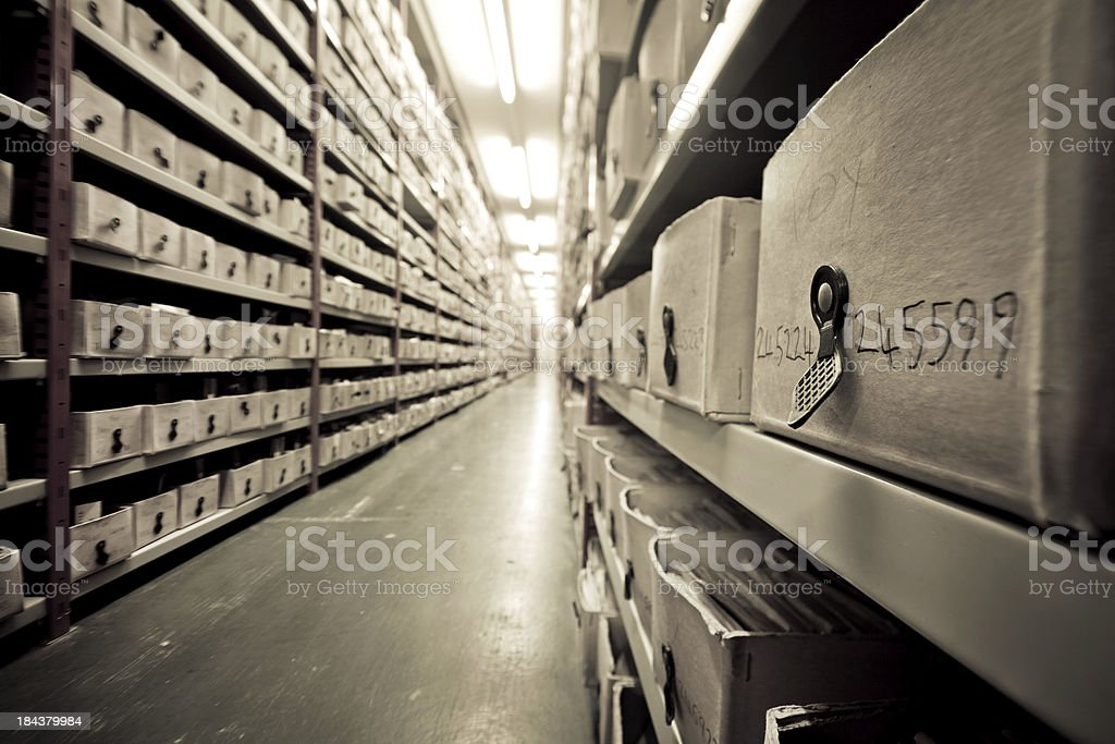 Archive many boxes with historic photographs in the Hulton Archive London Accessibility Stock Photo