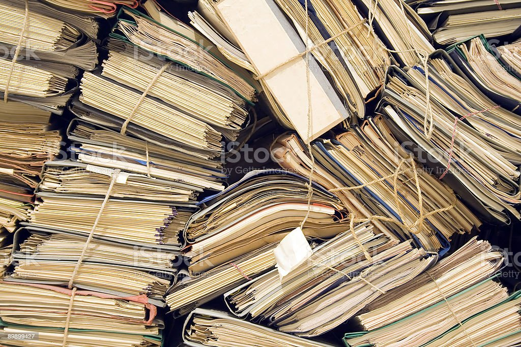 Archive with neglected, old files royalty free stockfoto