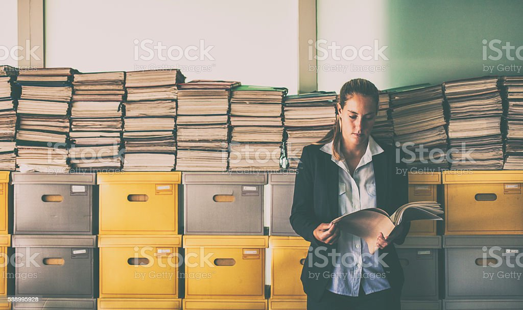 Archive worker stock photo