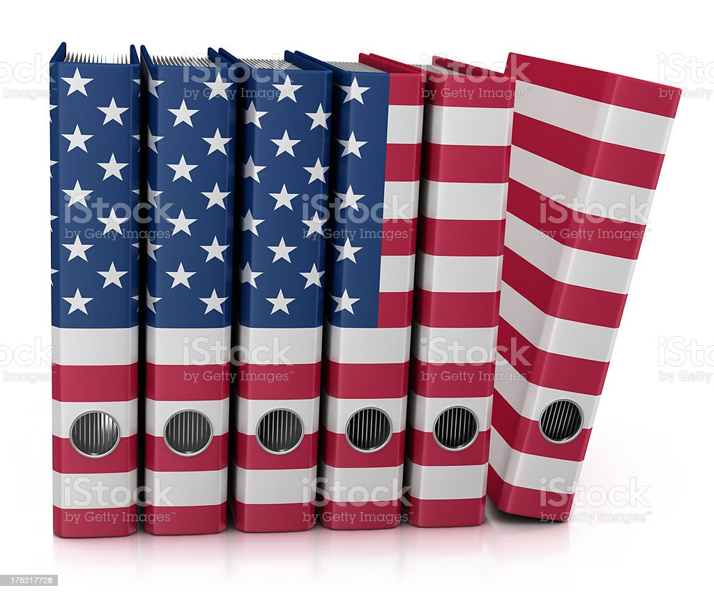 Archives and USA Flag stock photo