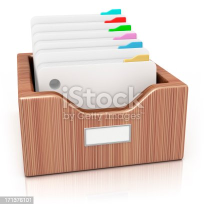 3d render. Directory in a wooden drawer on white background.