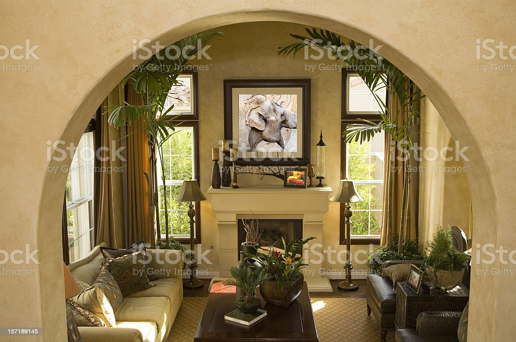 Archway and Living Room stock photo