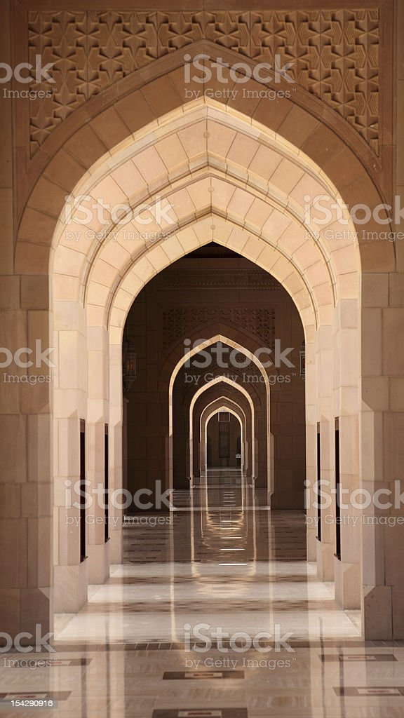 Archway in Grand Mosque, Oman royalty-free stock photo