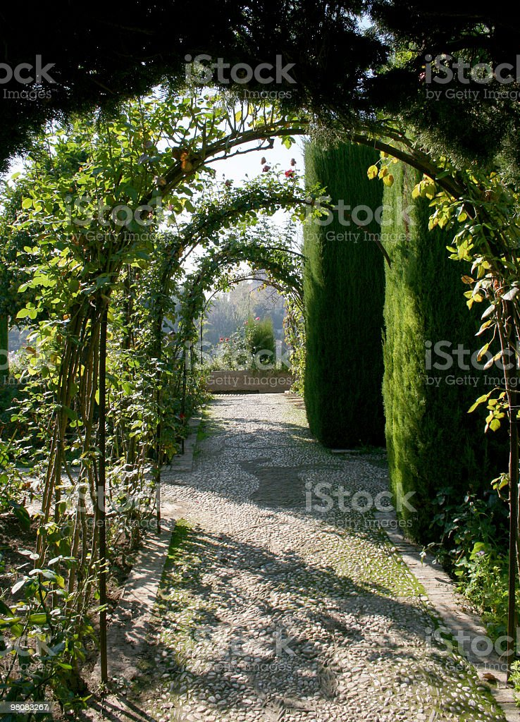Archway in the garden stock photo