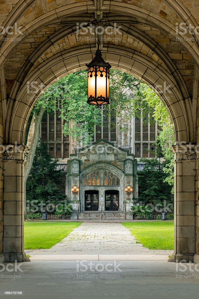 Archway to the University of Michigan Law School Campus stock photo