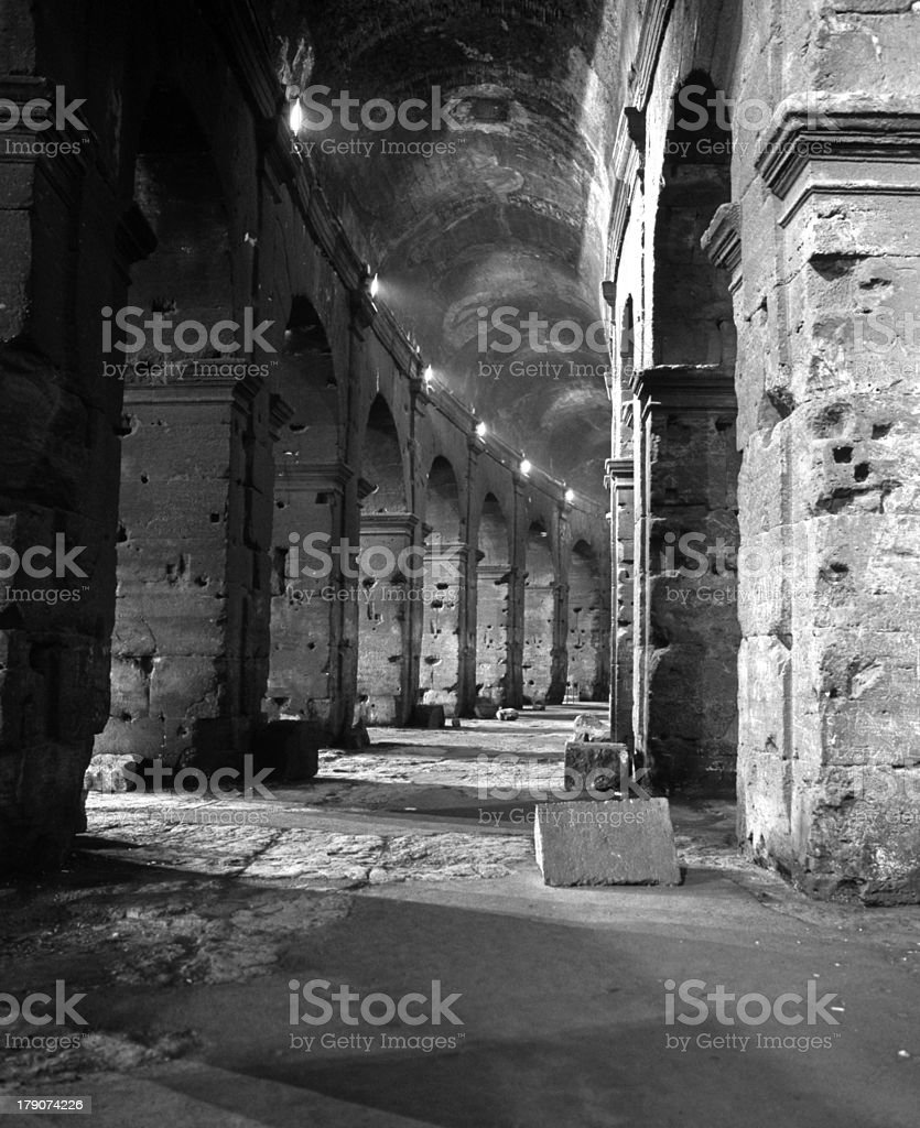 Archways and corridor, Colosseum, Rome. royalty-free stock photo
