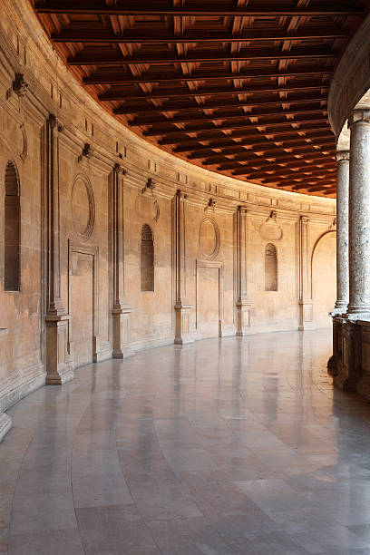 Archways in the Palacio de Carlos V, Alhambra, Granada Archways in the Palacio de Carlos V, Alhambra, Granada.    palace of charles v stock pictures, royalty-free photos & images