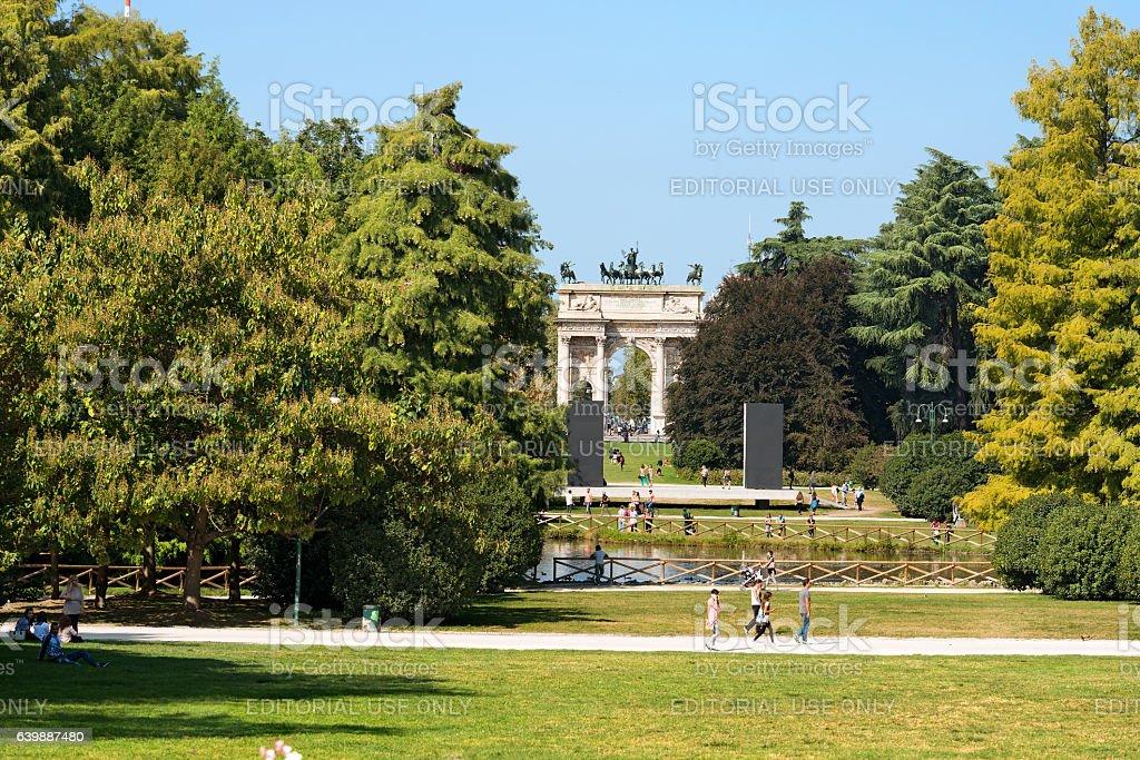 Arco della Pace - Parco Sempione Milano Italy stock photo