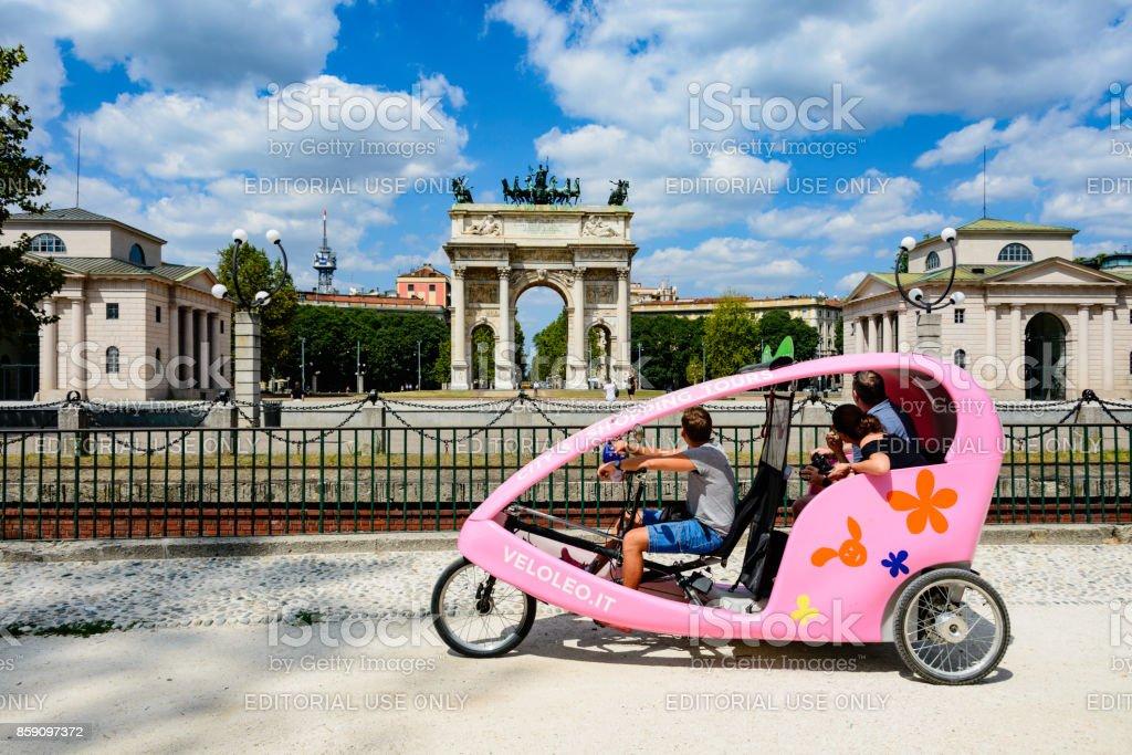 Arco della Pace, Porta Sempione, Milan, Italy stock photo