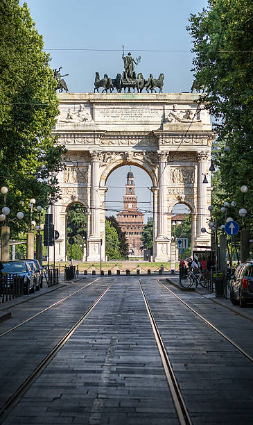 arco della pace con castello sforzesco in background-milano - milan railway foto e immagini stock