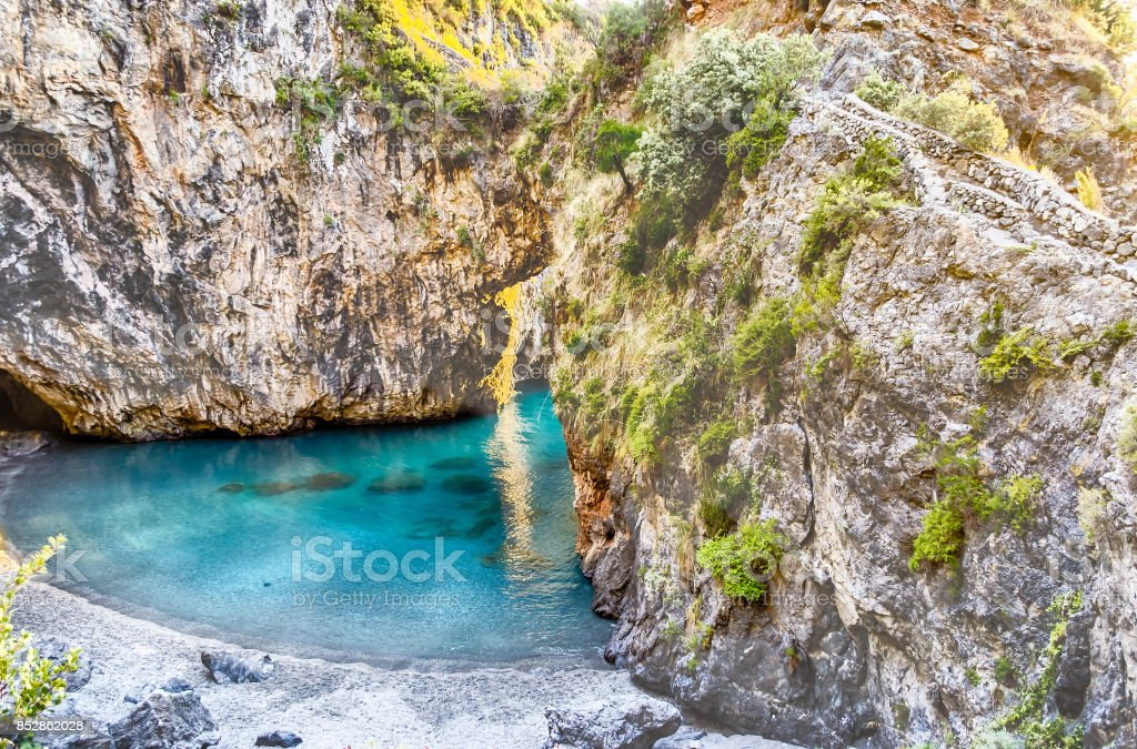 Arcomagno beach, Coast of the Cedars, Tyrrhenian Sea, Italy stock photo