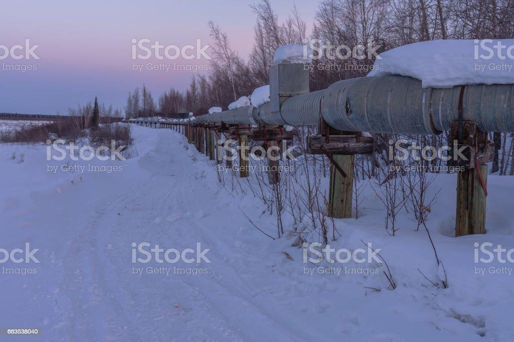 Arctic Above Ground Utility Lines stock photo