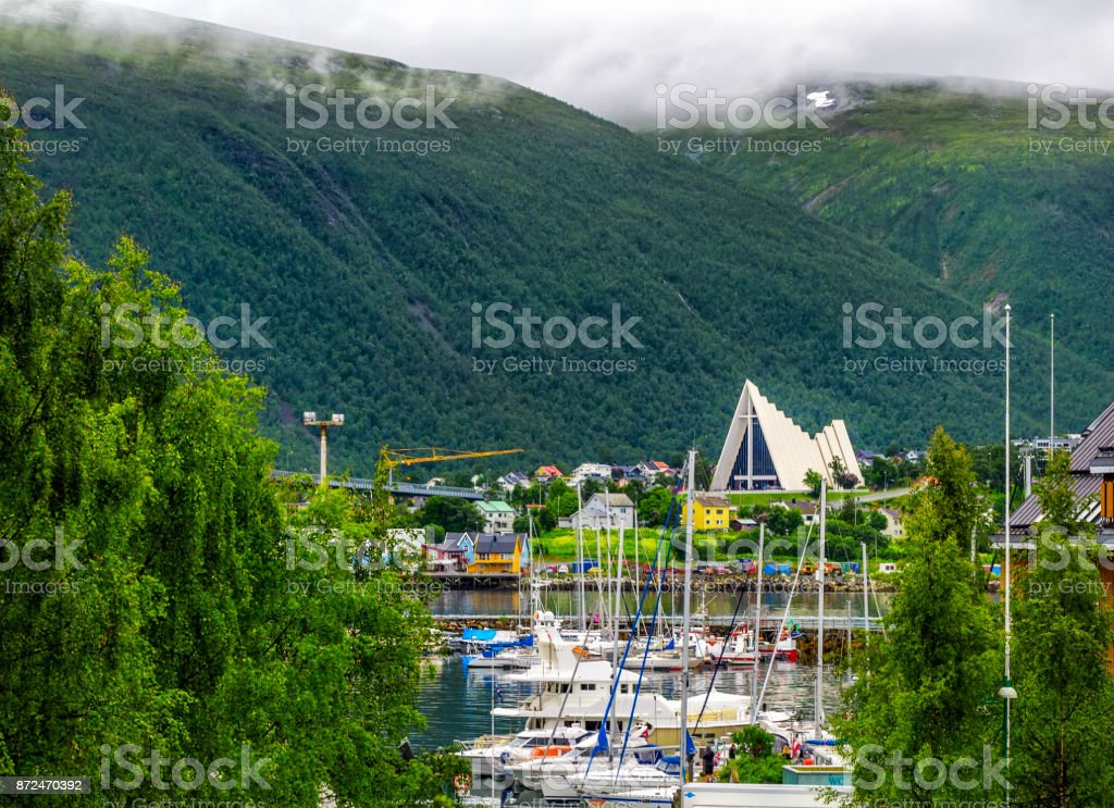 Arctic cathedral in Tromso city in northern, Norway. stock photo