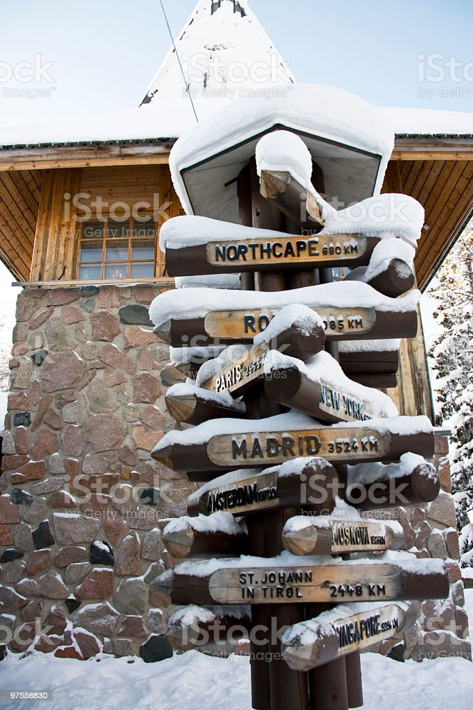 Arctic Circle Directional Sign Post royalty-free stock photo