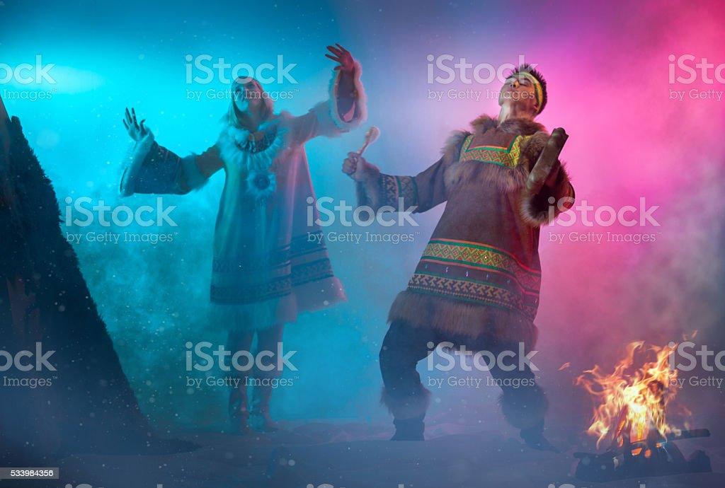 Arctic Dancing Couple stock photo