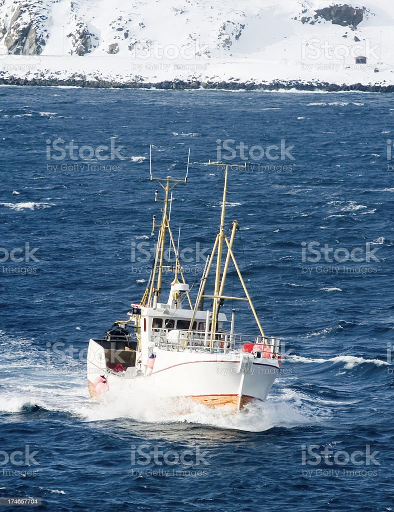 Arctic fishing boat stock photo