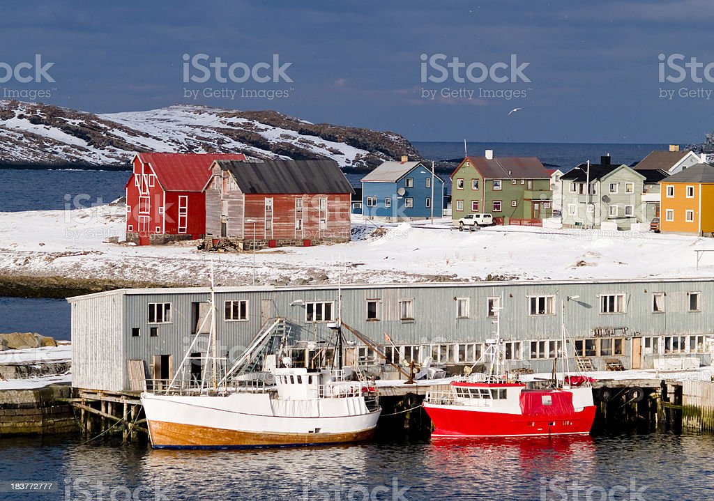 Arctic fishing boats stock photo