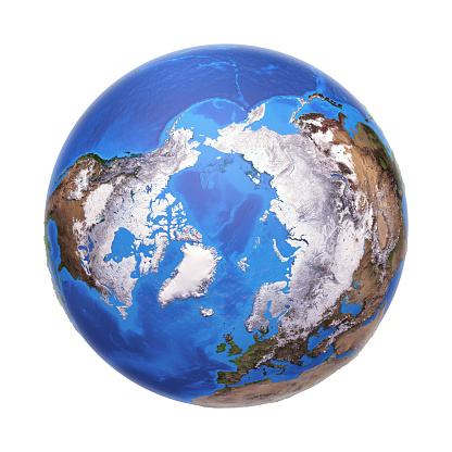 Arctic region viewed from a satellite. Physical map of North Pole in winter, February. 3D illustration of planet Earth isolated on white, with high bump effect - Elements of this image furnished by NASA.