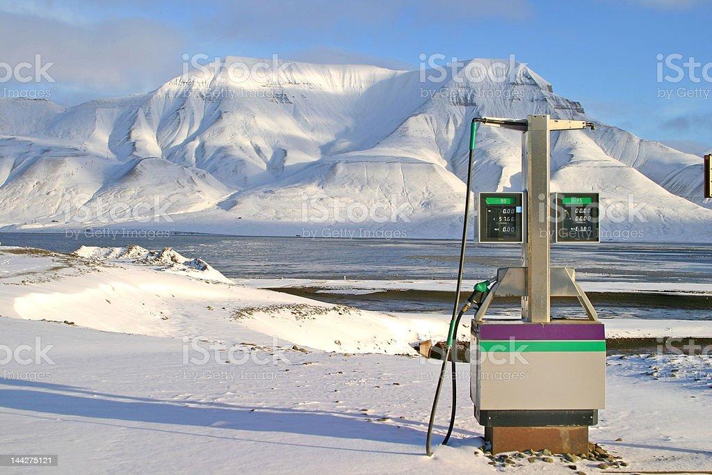 Arctic gas station stock photo