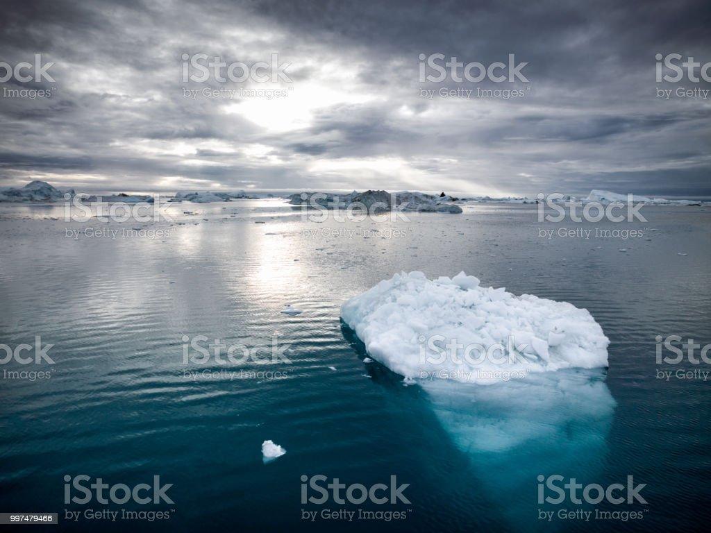 Arctic Icebergs Greenland Disko Bay Ilulissat royalty-free stock photo