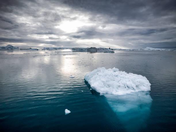 Arctic Icebergs Greenland Disko Bay Ilulissat stock photo